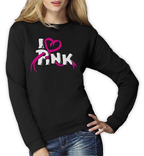 Brustkrebs-schwarz T-shirt (Green Turtle T-Shirts I Love Pink - Symbol im Kampf gegen Brustkrebs Frauen Sweatshirt Medium Schwarz)
