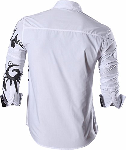 jeansian Herren Freizeit Hemden Lion Tattoo Printing Long Sleeves Slim Fit Dress Men Shirts Tops Z030 White