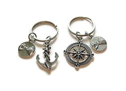 Kompass Freundschaft Familie Schlüssel Ring Brüder und Schwestern Geschenke, Mimi, Alltag Geschenk Schlüsselanhänger Key kette, einzigartiger Schlüssel Ring Geschenk (Mime Halloween)