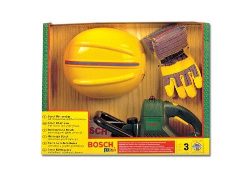 Theo Klein 8435 - Bosch Kettensäge mit Helm und Handschuhen, Spielzeug