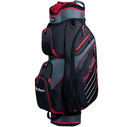 Macgregor 2017 Tourney Plus 10' Cart Bag Mens Golf Trolley Bag 14-Way Divider Black/Red