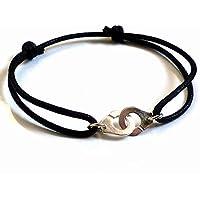 Bracelet menottes en Argent 925 sur cordon en coton