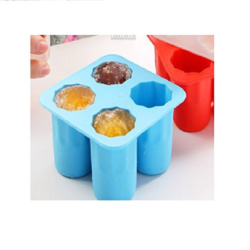 Magnusdeal Ice Shot Glass/Ice Cube Tray/Jelly Tray/Chocolate Mold/Silicone Ice Tray/Silicone Ice Shot Glass Mold,Jolly Rancher Cup/Candy melt-/4 Cups Square Ice Cube Tray Mould.(1 pc) (Blue)
