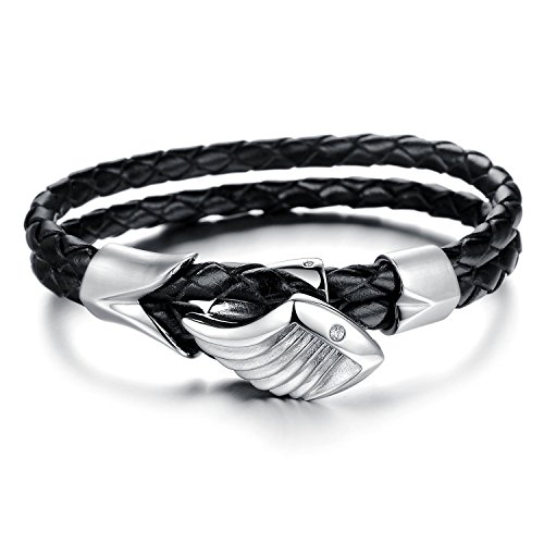 FLORAY Schmuck der Frauen Männer Lederseil Armband, Zöpfchen-Engels Flügel-Stulpe-Armband, elegante schwarze. (Schwarz-leder-armband-charme)