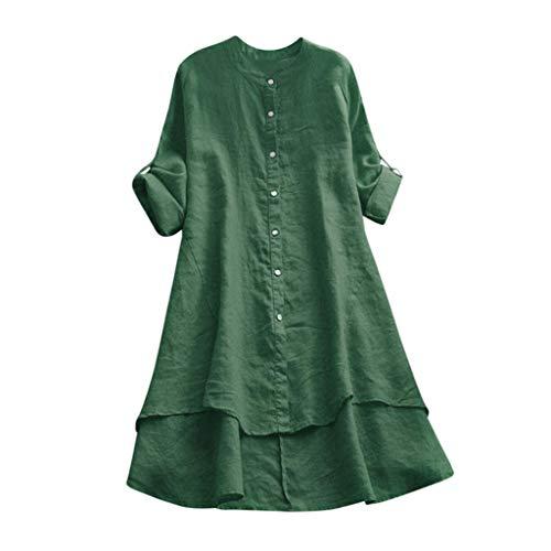 Linkay Femme Chemisier Femme Manche Courte Été Tops Décontracté Laine Ample Soild Button Long T-Shirt Blouse Mode 2019 (Vert C, M)