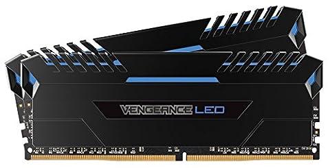 Corsair CMU16GX4M2C3200C16B Vengeance LED 16Go (2x8Go) DDR4 3200MHz C16 XMP 2.0 Kit de Mémorie Illuminé LED Enthousiaste - Noir avec Eclairge LED Bleu
