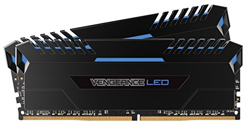 Corsair Vengeance LED Kit di Memoria Illuminato LED Entusiasta 16 GB (2x8 GB), DDR4 2666 MHz, C16 XMP 2.0, Nero con Illuminazione a LED Blu