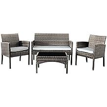Comfy Living Rattan Garden Furniture Set Patio Funiture 4 Peice Set in Grey