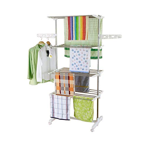 HS-Lighting Mobiler Wäscheständer Klappbar Kleiderständer Wäschetrockner-Turm Seitenflügel auf 4 Ebenen, Edelstahl, 142 x 55 x 178 cm