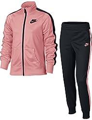 Nike G Nsw Trk Suit Tricot Chándal, Niñas, Rosa (Bright Melon / Black / Black), S