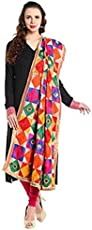 Fashion Tree Women's Chiffon Phulkari Dupatta ft678, Multicolour, Free Size