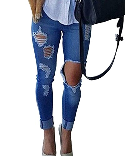 Donna Elegante Skinny Denim Jeans Strappato Pantaloni Stirata Slim Fit Jeans Blu