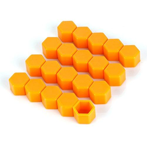 ECYC® Silicone Hexagonal Douille Vis Car Hub Hub Cover 20pcs (Orange 21mm)