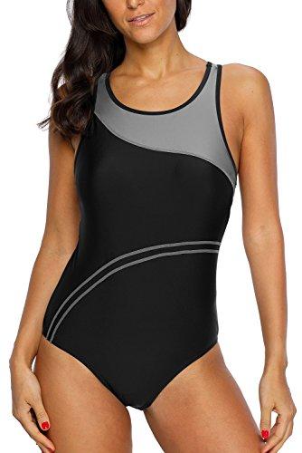CharmLeaks Damen Einteiler Figuroptimizer Sport Badeanzug Essential Endurance Streifen Grau 42 (Herstellergröße XL)
