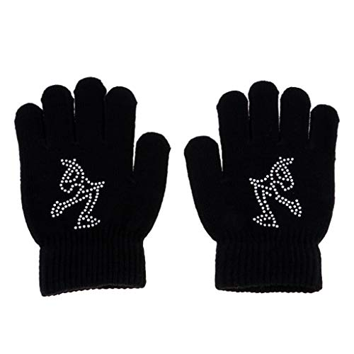 Baoblaze Erwachsene Kinder Skihandschuhe Stretch-Handschuhe Winterhandschuhe Eislaufen Handschuhe Vollfingerhandschuhe - Schwarz S