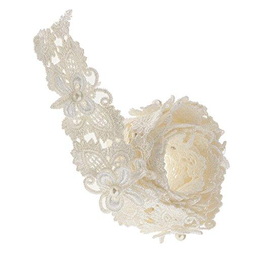MagiDeal 1 Yard Schmetterling Perle Spitze Band Stoff Trimmen Nähen Applikation 3cm Weiß (Stoff-perlen)