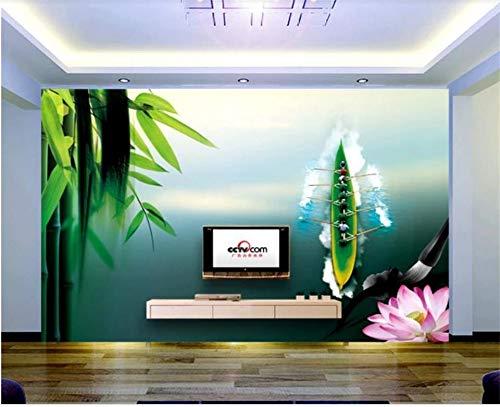 Yonthy 3D Mural papel pintado Etiqueta de la pared cama Tinta y lavado Dragon Boat Festival Hotel o restaurante Dormitorio Sala de estar Decoracion 150cmX100cm|59.05(in) X39.37(in)