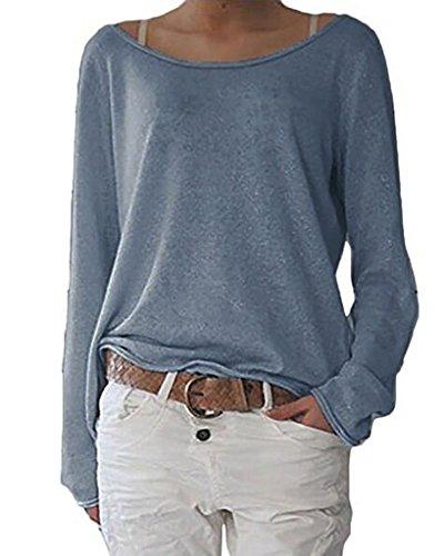 ZIOOER New Arrival Design Damen Pulli Langarm T-Shirt Rundhals Ausschnitt Lose Bluse Hemd Pullover Oversize Sweatshirt Oberteil Tops Marine M (Top Marine-blau-t-shirt)