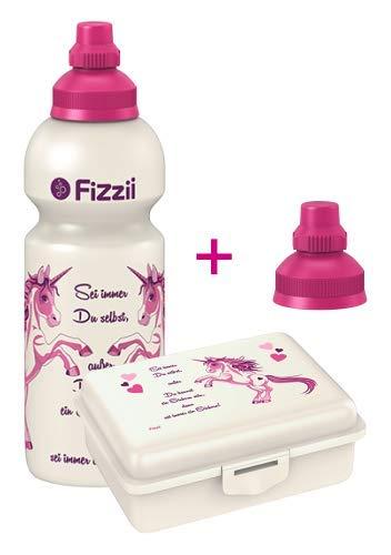 Fizzii Set Trinkflasche 600ml + Lunchbox inkl. Obst-/ Gemüsefach (schadstofffrei, spülmaschinenfest, Motiv: Einhorn)