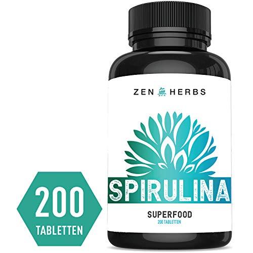 Spirulina Tabletten (200) Hochdosiert 2000mg pro Tagesdosis - Vegane Algen Presslinge aus Spirulina Pulver - 100{aac9bb77d06c97159125cb8e3e6373ee94c65947cec29f55b8ea6c2d2f57f624} Gentechnikfreie Top Qualität in Deutschland hergestellt - 400mg pro Tablette