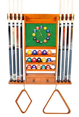 Iszy Billiards Billardständer für 8 Pools, mit Uhr, Mahagoni, Schwarz oder dunkle Eiche, dunkle Eiche