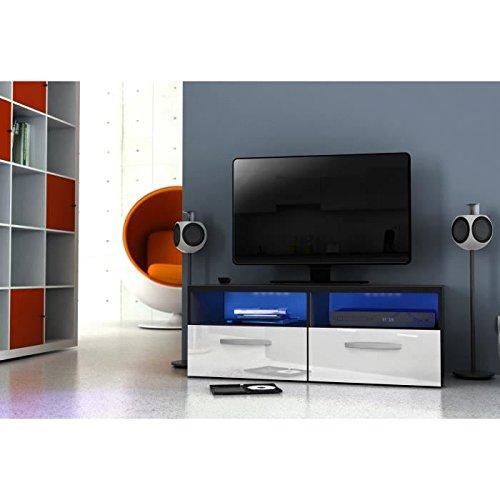 Kosmo meuble tv avec éclairage led 97 cm - blanc haute brillance
