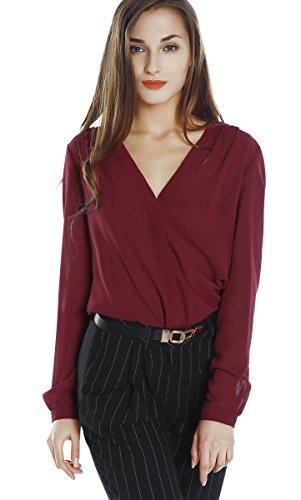 Urban goco donne camicette manica lunga pieghe chiffon con scollo v colore puro camicia blusa rosso bordeaux xl