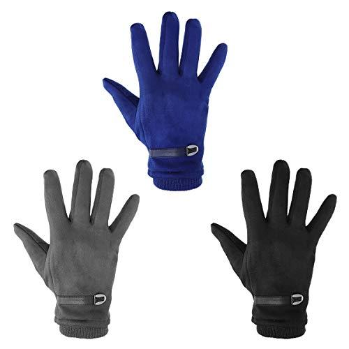 Tutoy 3 Farben Leder Schnalle Suede Touch Bildschirm Handschuhe Windproof Cold Protection Warm Thermal Glove - Dark Grey - Thermal-server