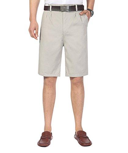 Baymate Grande Taille Boardshorts de Bain Casual Cargo Shorts Taille Haute Plage pour Hommes Beige Gris
