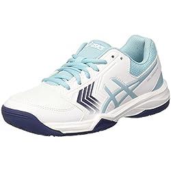 Asics Gel-Dedicate 5, Zapatillas de Tenis para Mujer, Blanco (White/Porcelain Indigo Blue 0114), 39.5 EU