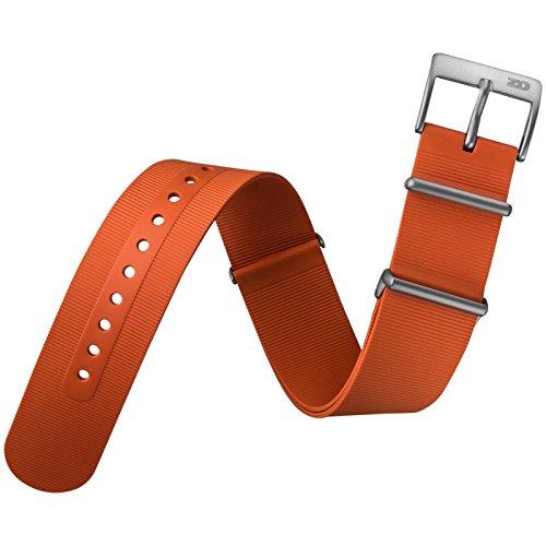 ZULUDIVER® Genuine Gomma Italiano Cinturino Orologio G10 NATO, Arancione (Rolex In Acciaio Inossidabile Oyster)