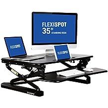 """FlexiSpot 35"""" (89cm) Plataforma amplia Elevador de escritorio de pie de altura ajustable, escritorio de pie con bandeja de teclado desmontable, negro (M2B-M-TAMAÑO)"""
