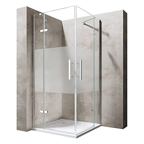 Sogood Eck-Duschkabine Eckdusche Ravenna30MS 100x100x195cm Duschabtrennung mit Milchglas Streifen ESG-Sicherheitsglas inkl. Easy-Clean-Beschichtung