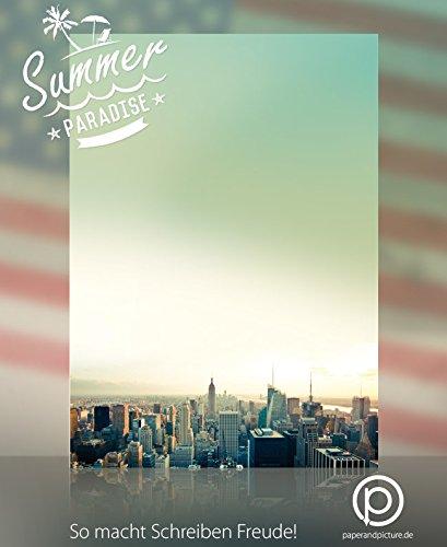 USA-Designpapier-Serie Briefpapier Set Road Trip New York, 200-teilig mit 100 Blatt Motivpapier DIN A4, 90g/qm und 100 passenden DIN LANG-Briefumschlägen (Scrapbooking Road Trip)