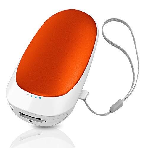 T98 USB Handwärmer, Elektrisch Taschenofen Doppelseitig Aufladbarer Taschenwärmer Wiederverwendbar, 5200mAH Hohe Kapazität Tragbare Powerbank für Handys iPad Tablets Smartphones MP3-Player etc (Red)