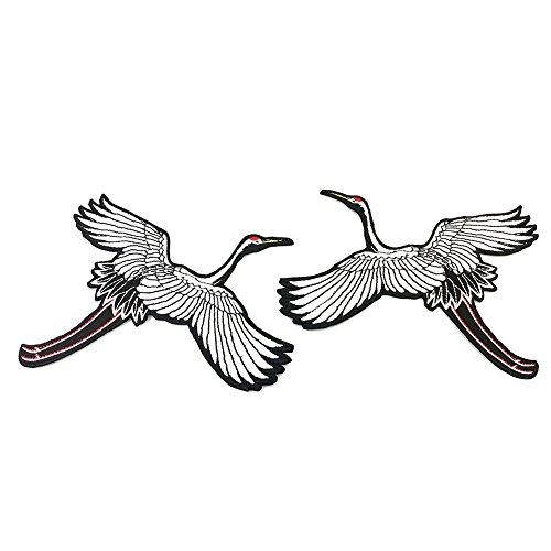 CAOLATOR Aufnäher Paar Vogel Aufkleber Rot-gekrönter Kran Patch Sticker Weiß Aufbügeln Groß DIY Kleidung Applikation Patches Flicken für T-Shirt Jeans Taschen Schuhe Hüte (Große Vogel-hut)