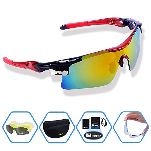 TOMOUNT Fahrradbrille, Sprotbrille Sonnenbrille mit 5 Wechselgläsern UV402 für Herren und Damen + Gürteltasche, für Reiten Fahren Angeln Laufen und Andere Outdoor Sport