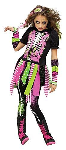 Halloween Kinder-Kostüm Neon Zombie für Mädchen Pink/Grün Horror Teenager, Kindergröße:158 - 12 bis 14 Jahre
