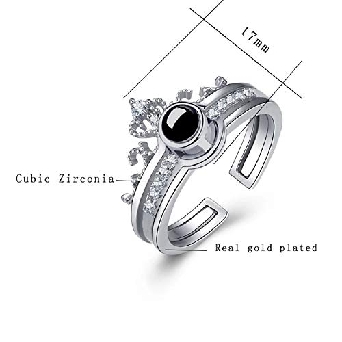 University Trendz 100 Languages I Love You Memory Crown Couple Rings Engagement Ring Set (Silver)