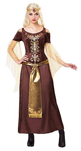Bristol Novelty af029Mittelalter Lady, Gold, UK (Kostüme Womens Prinzessin Renaissance)
