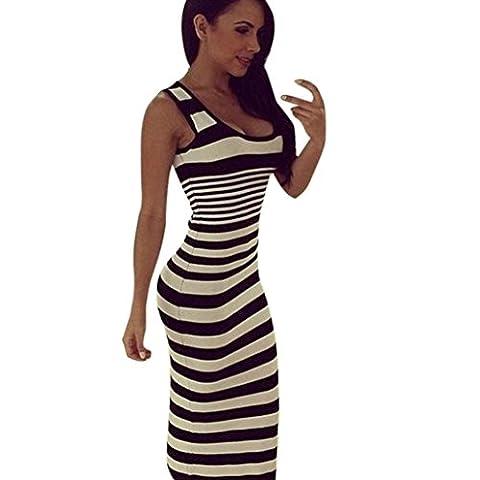 Women Dresses, Manadlian 2017 New Sexy Summer Women Stripe Loose Long Dress Beach Party Bodycon Tight Casual Vest Skirts Dress (XXL, Black)