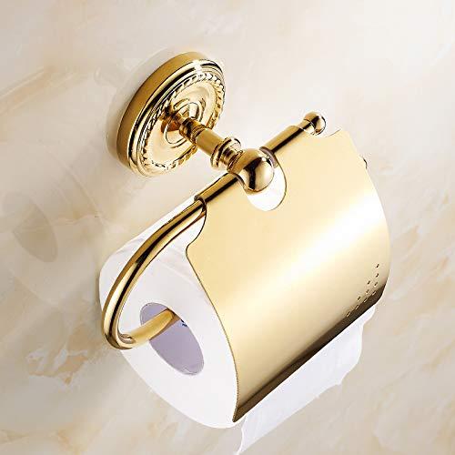 LUDSUY Plaqué Geschnitzte Gewebe-Halter Europäischen Badezimmer-Rollenhalter-Kupfer Handtuchwärmer Goldenes Papier Toilette -