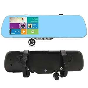 """Sourcingbay 1080P Android 4.0 Full HD 5 """"Écran tactile de stationnement Affichage double caméra de voiture DVR avec Cristal Bleu BW Écran de rétroviseur avec Navigation GPS Capteur de détection de mouvement Wi-Fi, haut-Parleur, vision nocturne"""