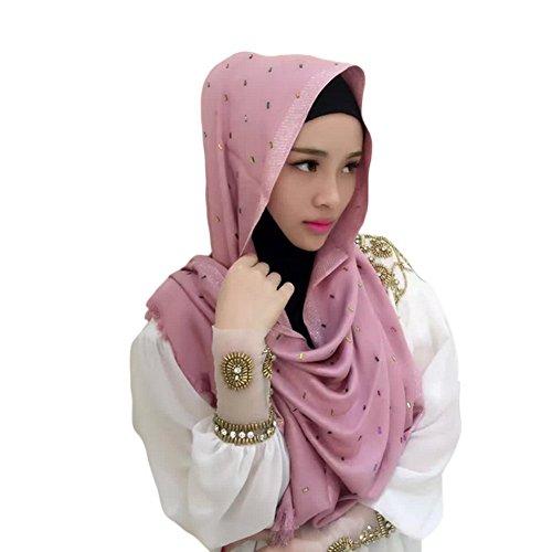Meijunter Muslim Femmes Tête Écharpe Couleuré Arabian Hijab Châle diamant Islamic Longue Écharpe pink