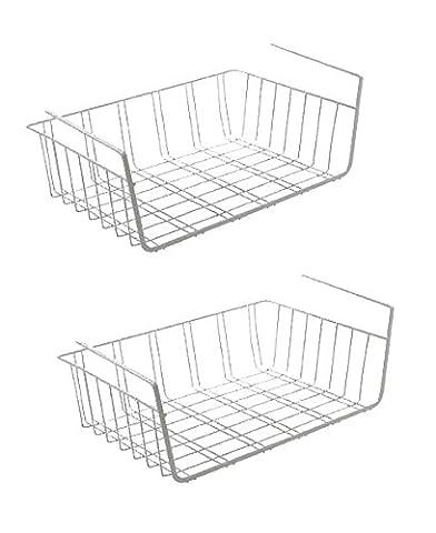 2er Set Hängekorb aus Metall Aufbewahrungs-Korb für Küchenschränke Kleiderschränke Regale Unterbauschrank