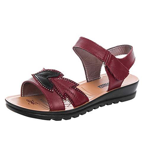 Masoness Sommer-Frauen-populäre Klassische Peep Toe Bequeme Flache römische Sandalen