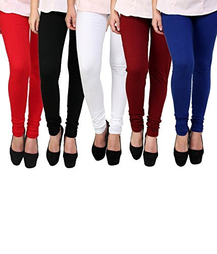 Subh World Leggings for Womens and Girls Cotton Lycra Multicolour Churidar Leggings - Available Sizes :- L, XL, XXL, XXXL - (Brand Outlet) - Pack of 5
