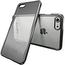 iPhone 8 Case by Cuvr | Clear Back Gel Cover Also fits iPhone 7 with Flexible Metallic Bumper (Grey)