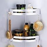 CROSOFMI Duschregal  Duschablage Ohne Bohren für Bad Küche Organizer Eckablage Duschkorb Aluminium (Dreieck, Silber,2 Packungen) -