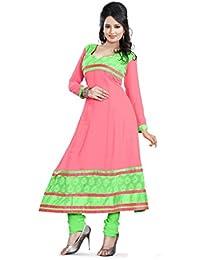 JHEENU Women's Georgette Dress Material (LSROYAL02_Free Size_Pink)